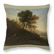Lorena, Claudio De Chamagne, 1600 - Roma, 1682 Setting Out With The Herd 1636 - 1637 Throw Pillow