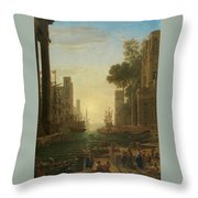 Lorena, Claudio De Chamagne, 1600 - Roma, 1682 The Embarkation Of Saint Paula Ca. 1639. Throw Pillow