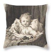 Lorenz Frolich Danish, Copenhagen 1820-1908 Hellerup, Child In A Crib Throw Pillow