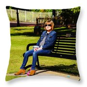 Lorna On A Bench Throw Pillow