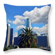 Los Angeles And Palm Trees Throw Pillow