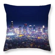 Los Angeles By Night Throw Pillow
