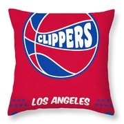 Los Angeles Clippers Vintage Basketball Art Throw Pillow
