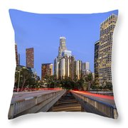 Los Angeles Downtown Night Scene Throw Pillow