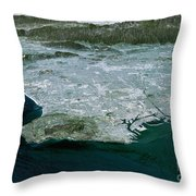 Los Angeles, Radar Image Throw Pillow by NASA / Science Source