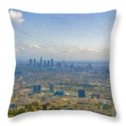 Los Angeles Skyline Between Power Lines Throw Pillow
