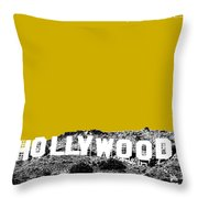 Los Angeles Skyline Hollywood - Gold Throw Pillow