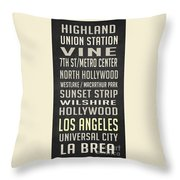 Los Angeles Vintage Places Poster Throw Pillow