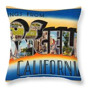 Los Angeles Vintage Travel Postcard Restored Throw Pillow
