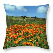 Los Olivos Poppies Throw Pillow