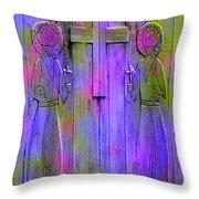 Los Santos Cuates - The Twin Saints Throw Pillow by Kurt Van Wagner