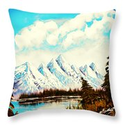Lost Blue Lagoon - Elegance With Oil Throw Pillow
