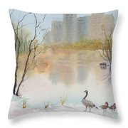 Lost Lagoon In Snow Throw Pillow