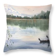 Lost Lagoon With Blue Heron Throw Pillow