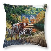Lost Maples Watering Hole Throw Pillow