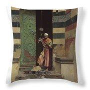 Lot 2 Raphael Von Ambros Austrian, 1855-1895 The Lamp Tender Throw Pillow