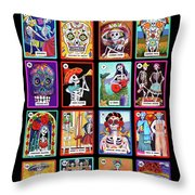 Loteria Dia De Los Muertos Throw Pillow
