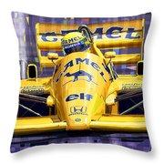 Lotus 99t Spa 1987 Ayrton Senna Throw Pillow by Yuriy  Shevchuk