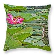Lotus Blossom And Heron Throw Pillow