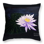 Lotus Blossom At Night Throw Pillow