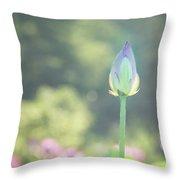 Lotus Bud In Garden Throw Pillow