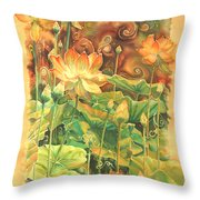 Lotus Field Throw Pillow