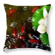 Lotus Flower And Gold Fish Throw Pillow