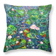 Lotus Flower Water Lily Lily Pads Painting Throw Pillow
