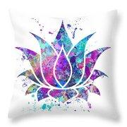 Lotus Flower Watercolor Print Throw Pillow