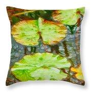 Lotus Flowers Leaves Throw Pillow