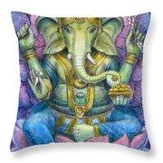 Lotus Ganesha Throw Pillow