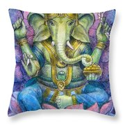 Lotus Ganesha Throw Pillow by Sue Halstenberg