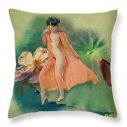 Lotus Maiden Throw Pillow