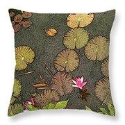 Lotus Pond Throw Pillow