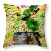 Lotus Tree In Big Jar Throw Pillow