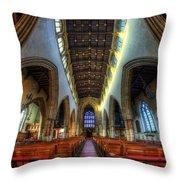 Loughborough Church - Nave Vertorama Throw Pillow