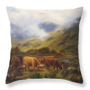 Louis Bosworth Hurt British 1856 - 1929 Highland Cattle Throw Pillow
