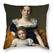 Louis David   Portrait Of The Comtesse Vilain Xiiii And Her Daughter Throw Pillow