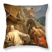 Louis Galloche - Saint Martin Sharing His Coat With A Beggar Throw Pillow