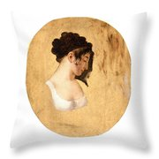 Louis-leopold Boilly - Profile Of A Young Womans Head Throw Pillow