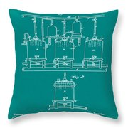 Louis Pasteur Brewing Beer And Ale Patent 1873 Green Throw Pillow