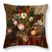 Louis Vidal, Still Life With Flowers And Fruit Throw Pillow