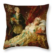 Louis Xv And Madame Dubarry Throw Pillow