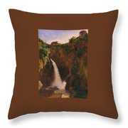 Louise-josephine Sarazin De Belmont  The Falls At Tivoli Throw Pillow