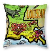 Louisiana Cartoon Map Throw Pillow