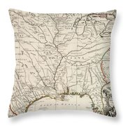Map Of Louisiana And Of The River Mississippi Throw Pillow