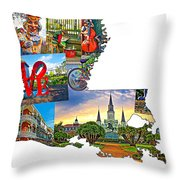Louisiana Map - New Orleans Throw Pillow