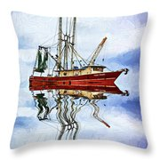 Louisiana Shrimp Boat 4 - Impasto Throw Pillow