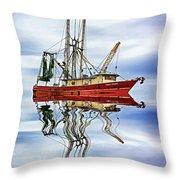 Louisiana Shrimp Boat 4 - Paint Throw Pillow