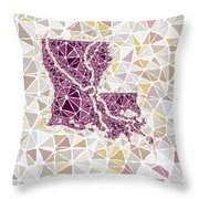 Louisiana State Map Geometric Abstract Pattern  Throw Pillow